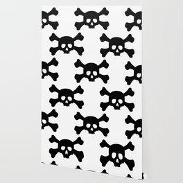 Simple Black Skull and Crossbones Wallpaper
