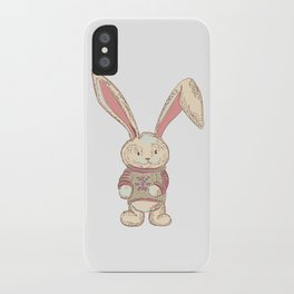 Christmas cute hare. Winter design illustration iPhone Case
