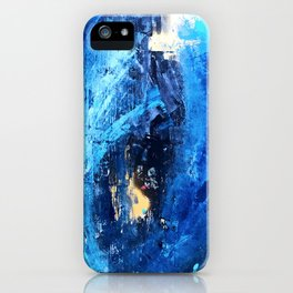 Vortex: a vibrant, blue and gold abstract mixed-media piece iPhone Case