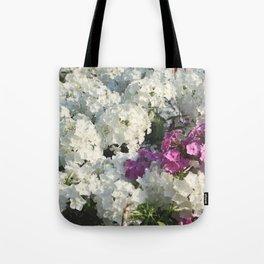 White & violet flowers flowerbed Tote Bag