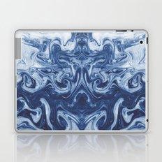 Yutaka - spilled ink marbled paper marbling swirl india ink minimal modern blue indigo pattern Laptop & iPad Skin
