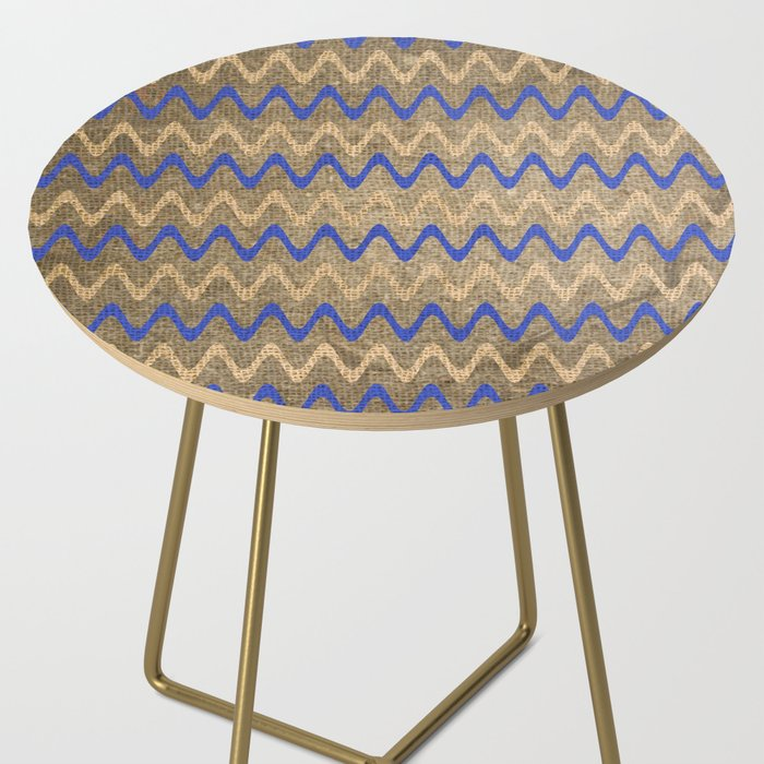 Blue and Tan Zigzag Stripes on Grungy Brown Burlap Graphic Design Side Table
