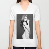 cara V-neck T-shirts featuring Cara by Fernando Monroy Robles