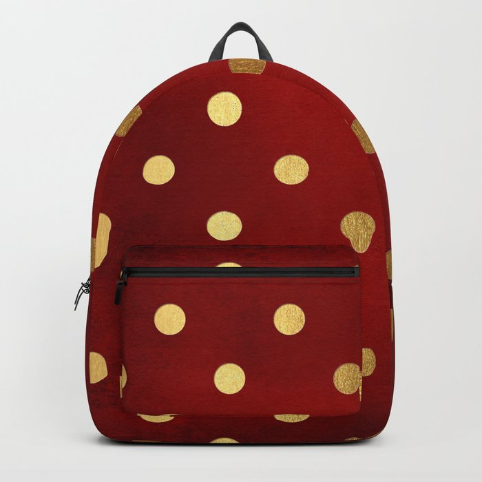 Adorable pattern for girls- gold dots on red background Backpack