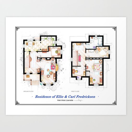 Floorplans of the house from UP Art Print