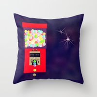 gumball Throw Pillows featuring Super Moon Gumball Machine by Mel Moongazer