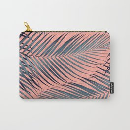 Blue Palm Leaves on Coral Pink #1 #tropical #decor #art #society6 Carry-All Pouch
