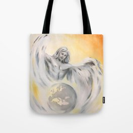 Guardian Angel World Peace - Handpainted Angel Art Tote Bag