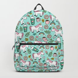 Unicorn Emoji Art Print, Frappuccino, Donuts, Blue and Pink, Girl Print, Tween Print Backpack