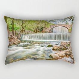 The double waterfall of Palaiokaria, Greece Rectangular Pillow
