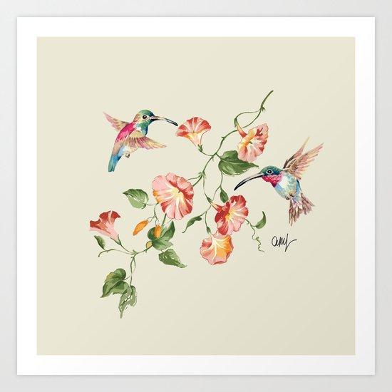 hummingbirds & morning glories Art Print