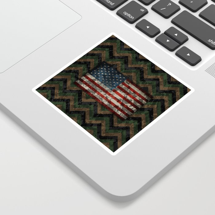 Green and Brown Military Digital Camo Pattern with American Flag Sticker