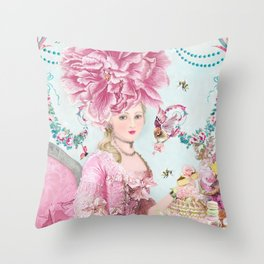 Marie Antoinette Wallflower Throw Pillow