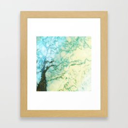 Abstract modern teal brown marble tree pattern Framed Art Print