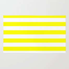 Narrow Horizontal Stripes - White and Yellow Rug