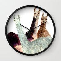 llama Wall Clocks featuring Llama by Big AL