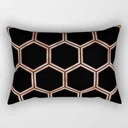 Black onyx copper hexagons Rectangular Pillow
