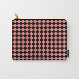Black and Coral Pink Diamonds Carry-All Pouch
