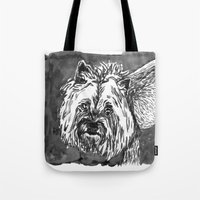 yorkie Tote Bags featuring yorkie by Jenn Steffey