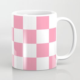 Checkered - White and Flamingo Pink Coffee Mug