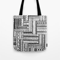 tribal Tote Bags featuring Tribal  by Ale Ibanez