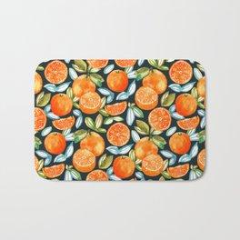 Oranges On Navy Bath Mat