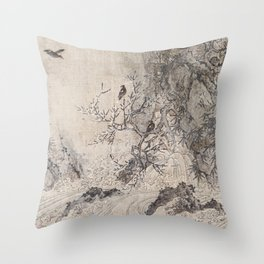 Landscape with Rapids Throw Pillow