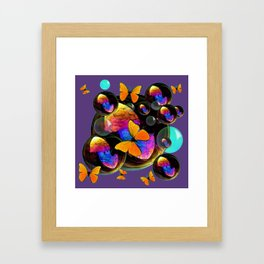 COLORFUL FUN  BUBBLES & YELLOW BUTTERFLIES PURPLE FANTASY Framed Art Print