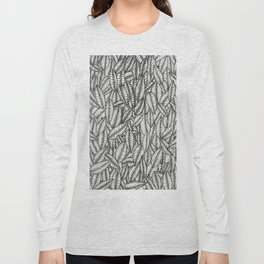 Black and White Botanical Leaf Print with Stick and Poke Style Long Sleeve T-shirt