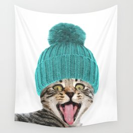 Cat with hat illustration Wall Tapestry