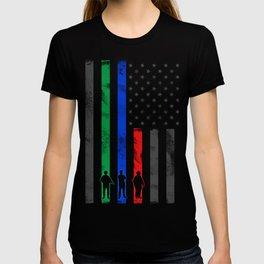 Thin Blue, Red, Green Line American Flag T-shirt