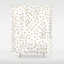 Girly Gold Dots Confetti White Design Shower Curtain