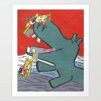 Hippo needs help Art Print