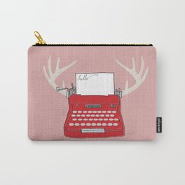 Retro Red Typewriter with Antlers Carry-All Pouch
