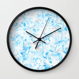 Floral Drawing in Cool Blue Watercolor and White Wall Clock