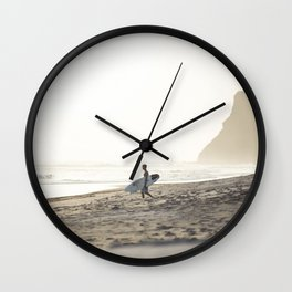 Sunset surf session Wall Clock