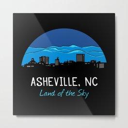 Asheville Cityscape - Land of the Sky - AVL 7 Blue Metal Print