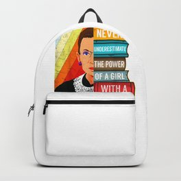 Never Underestimate Power of A Girl With Book RBG Ruth Girls T-Shirt Backpack