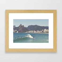 Surfing on Ipanema Beach Framed Art Print