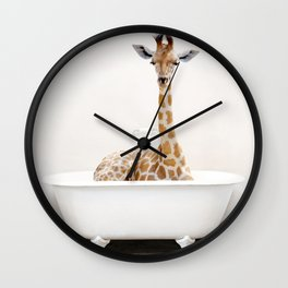 Skeptic Giraffe in the Bath (c) Wall Clock