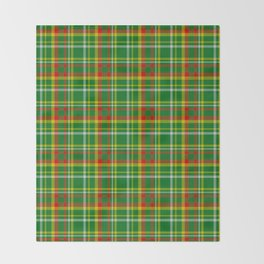 Green Red Yellow and White Plaid Throw Blanket