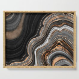 Elegant black marble with gold and copper veins Serving Tray