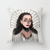 heavy metal Throw Pillows featuring Heavy Metal Venus by Helen Green