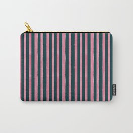 Pink and Emerald Watercolor Stripes Carry-All Pouch