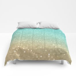 Sparkling Gold Aqua Teal Glitter Glam #1 #shiny #decor #society6 Comforters