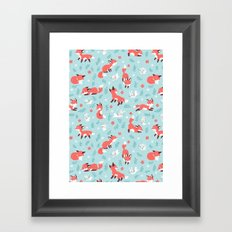 Fox and Bunny Pattern Framed Art Print