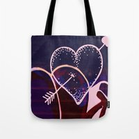 battlefield Tote Bags featuring Love is a Battlefield... by Jennifer Trimble