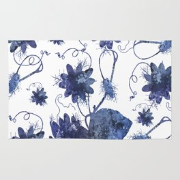 Watercolor Indigo Passion Flower Rug