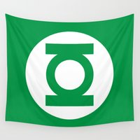 green lantern Wall Tapestries featuring Green Lantern Minimalist Poster by Bigvince-Vincent Tavera