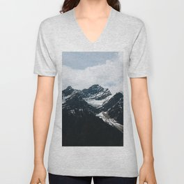 Mountains In Icefield Parkway Unisex V-Neck